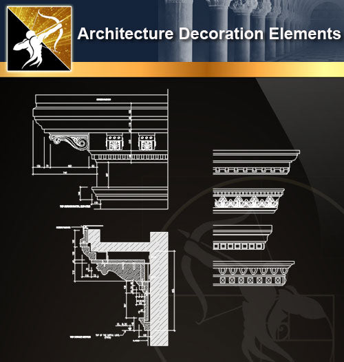 Free CAD Architecture Decoration Elements 12 - Architecture Autocad Blocks,CAD Details,CAD Drawings,3D Models,PSD,Vector,Sketchup Download