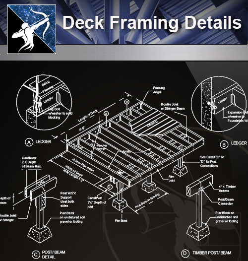 【Free Floor Details】Deck Framing Details - Architecture Autocad Blocks,CAD Details,CAD Drawings,3D Models,PSD,Vector,Sketchup Download