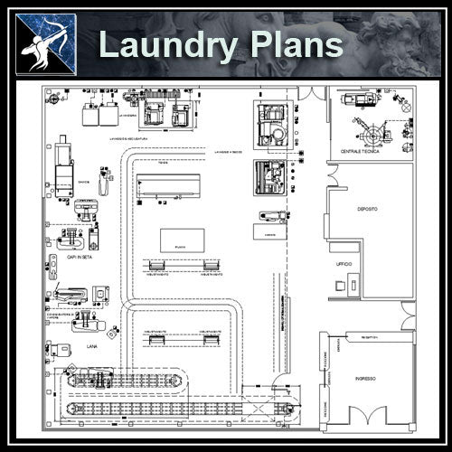 【Architecture CAD Projects】Laundry CAD plan CAD Blocks - Architecture Autocad Blocks,CAD Details,CAD Drawings,3D Models,PSD,Vector,Sketchup Download