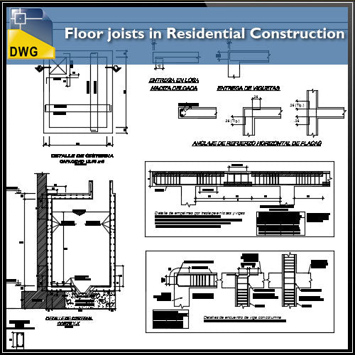 【CAD Details】Floor joists in Residential Construction CAD Details - Architecture Autocad Blocks,CAD Details,CAD Drawings,3D Models,PSD,Vector,Sketchup Download