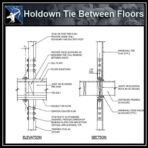 ★Free CAD Details-Holdown Tie Between Floors - Architecture Autocad Blocks,CAD Details,CAD Drawings,3D Models,PSD,Vector,Sketchup Download