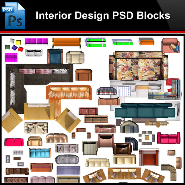 ★Photoshop PSD Blocks-Interior Design PSD Blocks-Sofa PSD Blocks - Architecture Autocad Blocks,CAD Details,CAD Drawings,3D Models,PSD,Vector,Sketchup Download