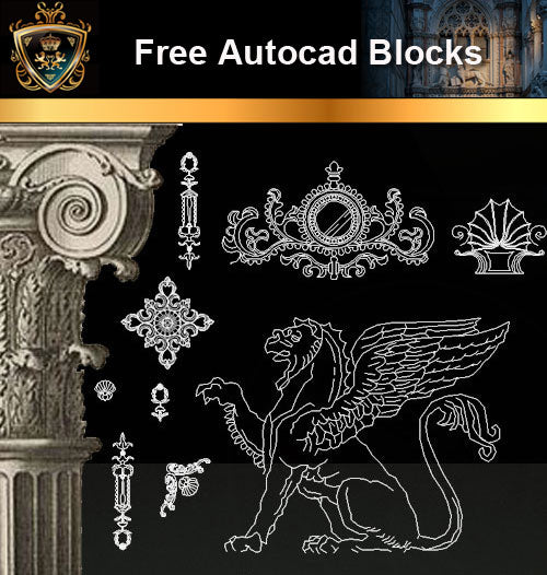 ★Free CAD Blocks-Architecture Decorative Elements V.1 - Architecture Autocad Blocks,CAD Details,CAD Drawings,3D Models,PSD,Vector,Sketchup Download