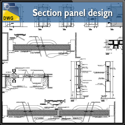 【CAD Details】Section panel design CAD Details - Architecture Autocad Blocks,CAD Details,CAD Drawings,3D Models,PSD,Vector,Sketchup Download