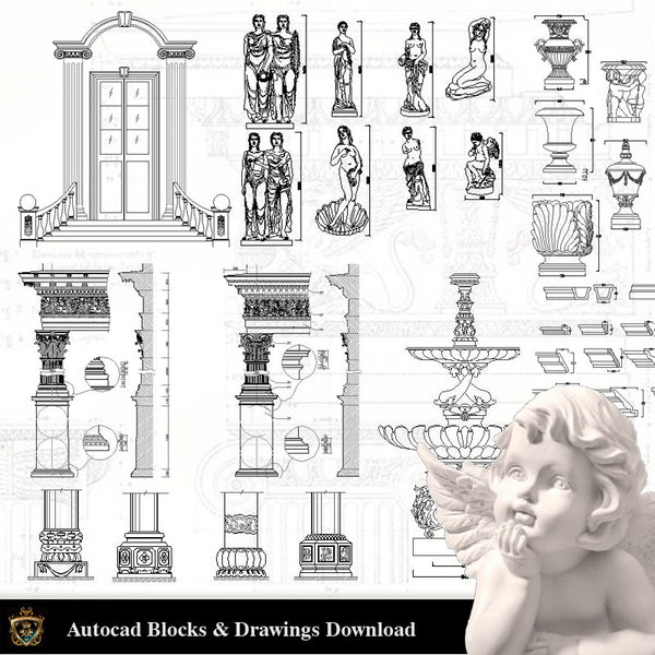 Architectural Decoration Elements CAD Blocks Bundle V.2 - Architecture Autocad Blocks,CAD Details,CAD Drawings,3D Models,PSD,Vector,Sketchup Download