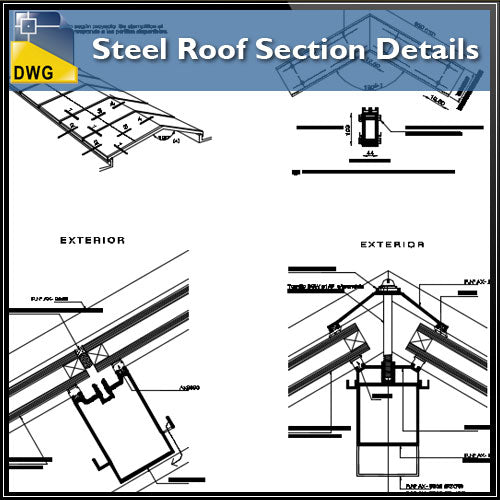【CAD Details】Steel Roof Section CAD Details - Architecture Autocad Blocks,CAD Details,CAD Drawings,3D Models,PSD,Vector,Sketchup Download