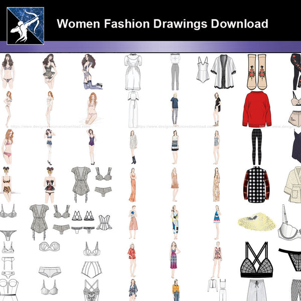★Women Fashion Drawings Download  V.5-Women Dresses,Tops,Skirts,Shoes Design Drawings - Architecture Autocad Blocks,CAD Details,CAD Drawings,3D Models,PSD,Vector,Sketchup Download