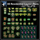 ★【85 Residential Layout Plans CAD Drawings】 - Architecture Autocad Blocks,CAD Details,CAD Drawings,3D Models,PSD,Vector,Sketchup Download