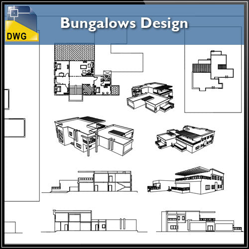【Architecture CAD Projects】Modern Bungalows Design Plan,Villa CAD Drawings V.1