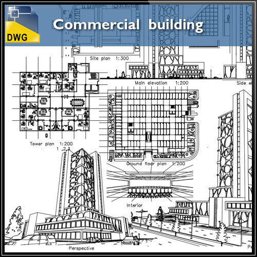 【Architecture CAD Projects】@Commercial Building CAD Design - Architecture Autocad Blocks,CAD Details,CAD Drawings,3D Models,PSD,Vector,Sketchup Download