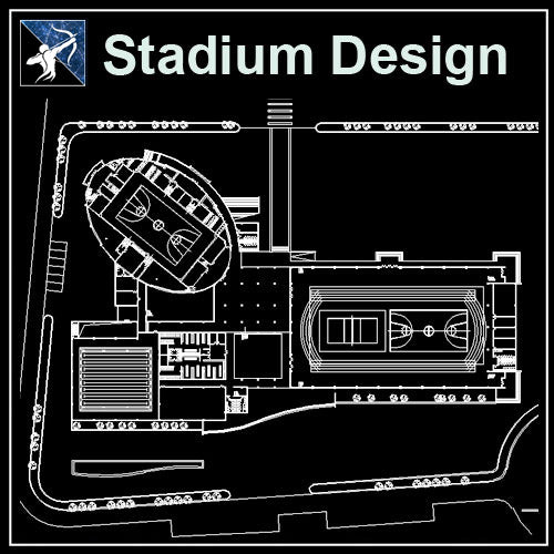 【Architecture CAD Projects】Stadium Design CAD Blocks,Plans,Layout V2