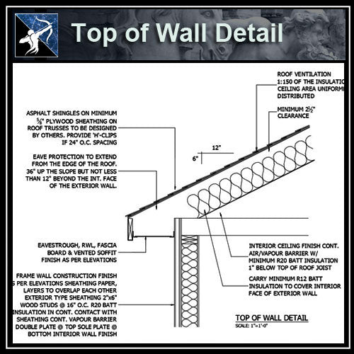 ★Free CAD Details-Top of Wall Detail 2 - Architecture Autocad Blocks,CAD Details,CAD Drawings,3D Models,PSD,Vector,Sketchup Download