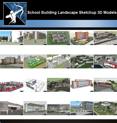 ★Best 20 Types of School Sketchup 3D Models Collection V.7