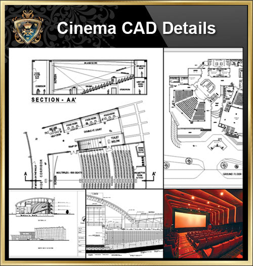 ★【Cinema CAD Drawings Collection】@Cinema Design,Autocad Blocks,Cinema Details,Cinema Section,Cinema elevation design drawings - Architecture Autocad Blocks,CAD Details,CAD Drawings,3D Models,PSD,Vector,Sketchup Download