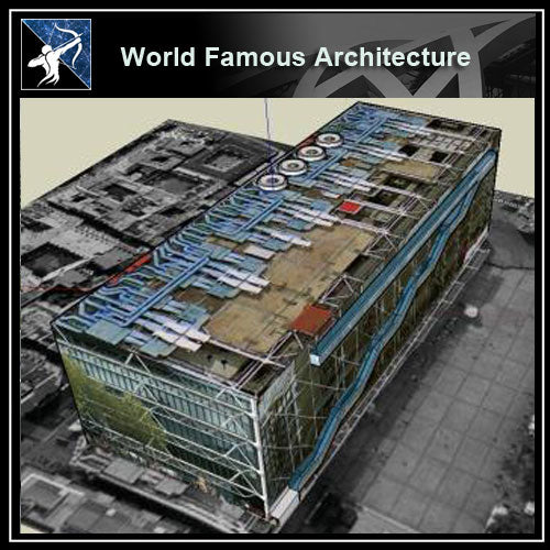 【World Famous Architecture CAD Drawings】Pompidou Centre CAD 3d model - Architecture Autocad Blocks,CAD Details,CAD Drawings,3D Models,PSD,Vector,Sketchup Download