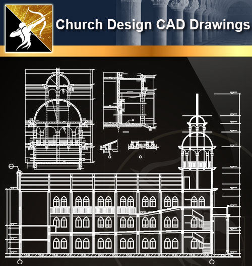 Church Design CAD Drawings 4 - Architecture Autocad Blocks,CAD Details,CAD Drawings,3D Models,PSD,Vector,Sketchup Download