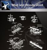 【Wood Constructure Details】Mud and woods joint and constructions detail drawing