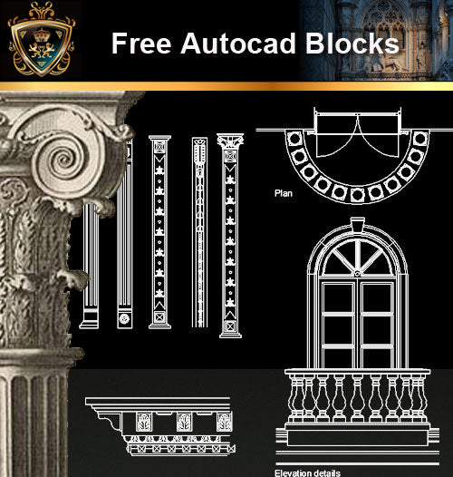 ★Free CAD Blocks-Architecture Decorative Elements V.10 - Architecture Autocad Blocks,CAD Details,CAD Drawings,3D Models,PSD,Vector,Sketchup Download