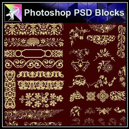 【Photoshop PSD Blocks】Gold Decorative Borders 4 - Architecture Autocad Blocks,CAD Details,CAD Drawings,3D Models,PSD,Vector,Sketchup Download