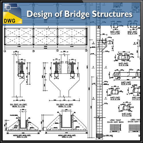 【CAD Details】Design of Bridge Structures CAD Drawings - Architecture Autocad Blocks,CAD Details,CAD Drawings,3D Models,PSD,Vector,Sketchup Download