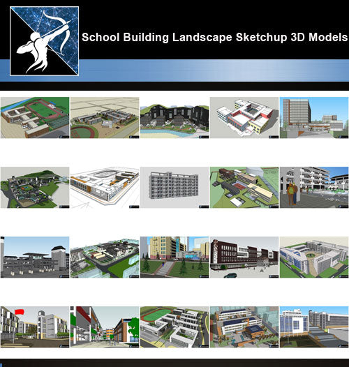 ★Best 20 Types of School Sketchup 3D Models Collection V.4 - Architecture Autocad Blocks,CAD Details,CAD Drawings,3D Models,PSD,Vector,Sketchup Download