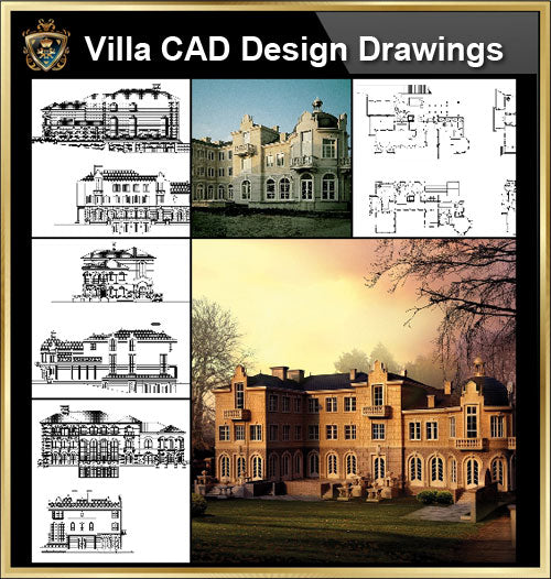 ★【Villa CAD Design,Details Project V.8-French Fontainebleau Style】Chateau,Manor,Mansion,Villa@Autocad Blocks,Drawings,CAD Details,Elevation - Architecture Autocad Blocks,CAD Details,CAD Drawings,3D Models,PSD,Vector,Sketchup Download