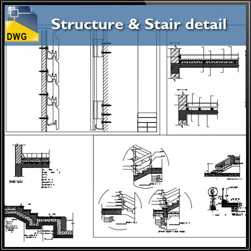 【CAD Details】Structure & Stair CAD Details - Architecture Autocad Blocks,CAD Details,CAD Drawings,3D Models,PSD,Vector,Sketchup Download