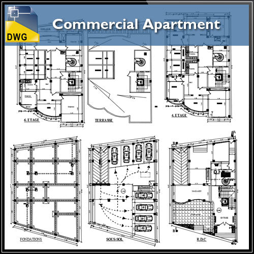【Architecture CAD Projects】@Commercial Apartment - Architecture Autocad Blocks,CAD Details,CAD Drawings,3D Models,PSD,Vector,Sketchup Download