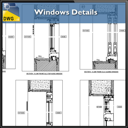 【CAD Details】Windows CAD Details - Architecture Autocad Blocks,CAD Details,CAD Drawings,3D Models,PSD,Vector,Sketchup Download