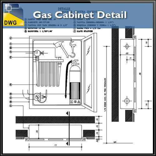 【CAD Details】Gas Cabinet CAD Details - Architecture Autocad Blocks,CAD Details,CAD Drawings,3D Models,PSD,Vector,Sketchup Download