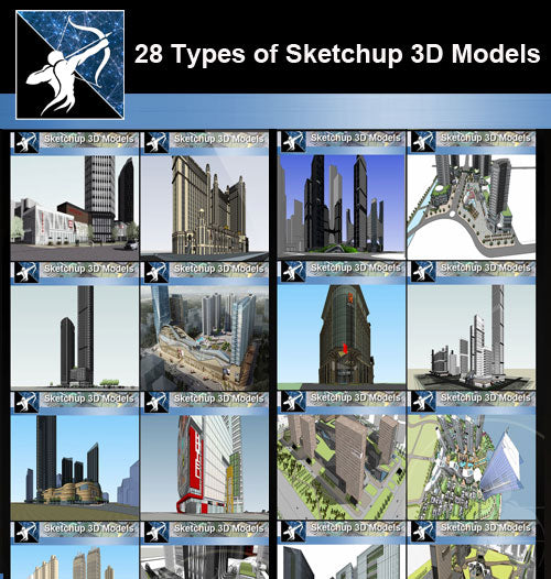 ★Best 28 Types of Residential and Business Building Sketchup 3D Models Collection