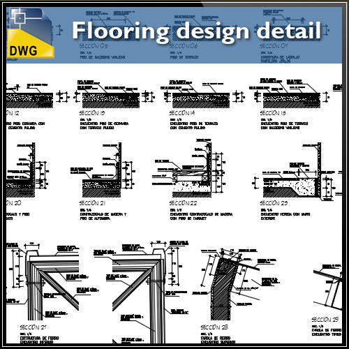【CAD Details】 Flooring design detail cad files - Architecture Autocad Blocks,CAD Details,CAD Drawings,3D Models,PSD,Vector,Sketchup Download