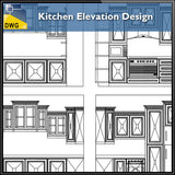 【Interior Design CAD Drawings】@Kitchen Elevation Design CAD Details - Architecture Autocad Blocks,CAD Details,CAD Drawings,3D Models,PSD,Vector,Sketchup Download