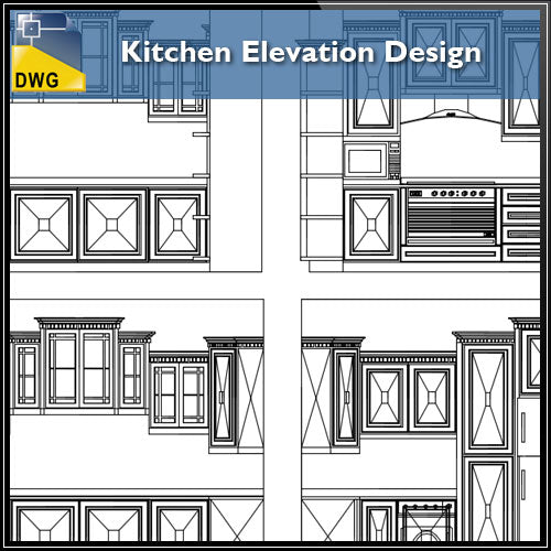【Interior Design CAD Drawings】@Kitchen Elevation Design CAD Details