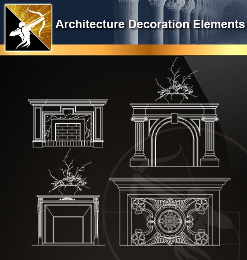 Free CAD Architecture Decoration Elements 7 - Architecture Autocad Blocks,CAD Details,CAD Drawings,3D Models,PSD,Vector,Sketchup Download