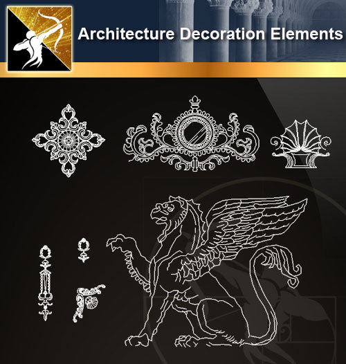 Free CAD Architecture Decoration Elements 3 - Architecture Autocad Blocks,CAD Details,CAD Drawings,3D Models,PSD,Vector,Sketchup Download