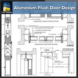 【CAD Details】Aluminium Flush Door Design CAD Details - Architecture Autocad Blocks,CAD Details,CAD Drawings,3D Models,PSD,Vector,Sketchup Download