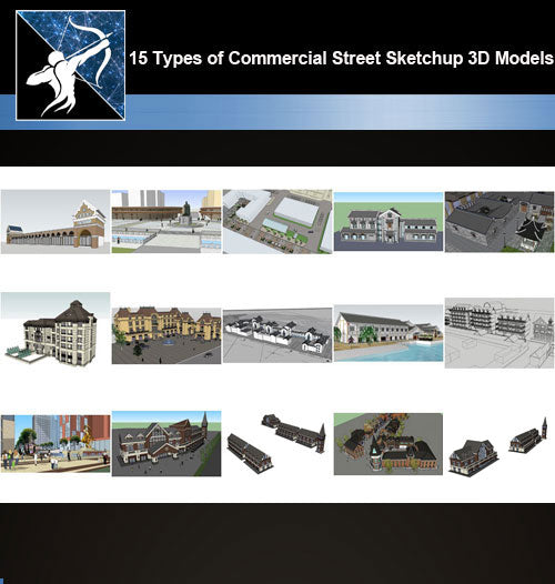★Best 15 Types of Commercial Street Design Sketchup 3D Models Collection V.3 - Architecture Autocad Blocks,CAD Details,CAD Drawings,3D Models,PSD,Vector,Sketchup Download
