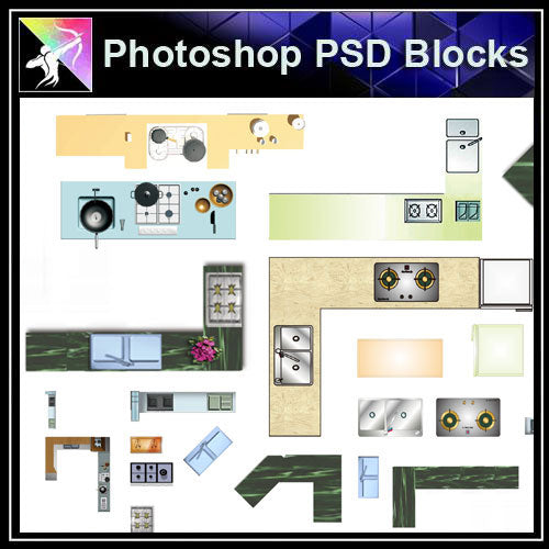【Photoshop PSD Blocks】Kitchen Blocks - Architecture Autocad Blocks,CAD Details,CAD Drawings,3D Models,PSD,Vector,Sketchup Download