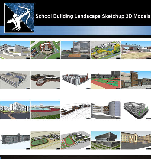 ★Best 20 Types of School Sketchup 3D Models Collection V.6 - Architecture Autocad Blocks,CAD Details,CAD Drawings,3D Models,PSD,Vector,Sketchup Download