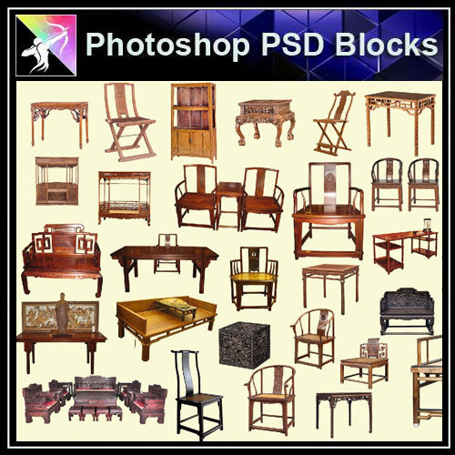 【Photoshop PSD Blocks】Chinese Chair 1 - Architecture Autocad Blocks,CAD Details,CAD Drawings,3D Models,PSD,Vector,Sketchup Download