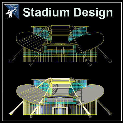 【Architecture CAD Projects】Stadium Design CAD Blocks,Plans,Layout V4