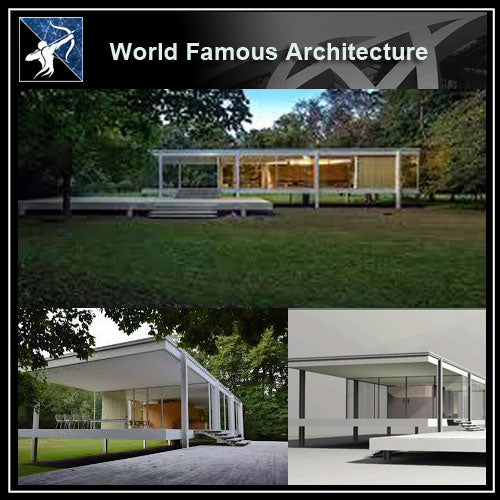 【World Famous Architecture CAD Drawings】Farnsworth house 3D Max model- ludwig mies van der rohe - Architecture Autocad Blocks,CAD Details,CAD Drawings,3D Models,PSD,Vector,Sketchup Download
