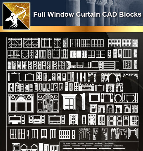 ★Full Windows Curtain Blocks - Architecture Autocad Blocks,CAD Details,CAD Drawings,3D Models,PSD,Vector,Sketchup Download