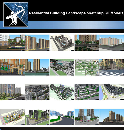 ★Best 20 Types of Residential Building Landscape Sketchup 3D Models Collection V.5 - Architecture Autocad Blocks,CAD Details,CAD Drawings,3D Models,PSD,Vector,Sketchup Download