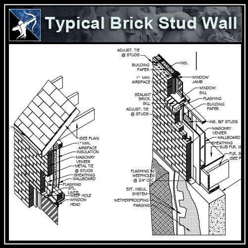 【Architecture Details】Typical Brick Stud Wall (ISO) - Architecture Autocad Blocks,CAD Details,CAD Drawings,3D Models,PSD,Vector,Sketchup Download