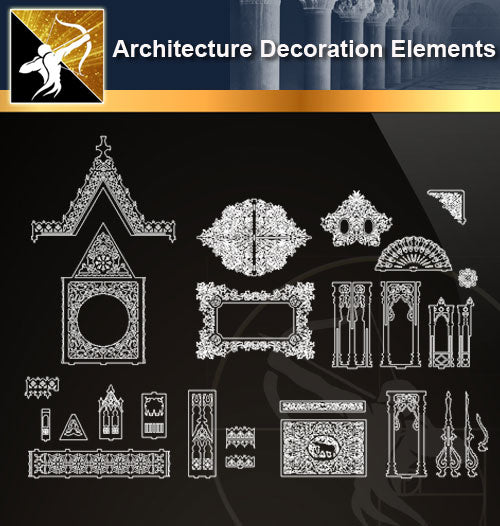 Free CAD Architecture Decoration Elements 9 - Architecture Autocad Blocks,CAD Details,CAD Drawings,3D Models,PSD,Vector,Sketchup Download
