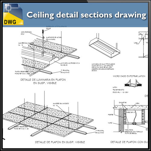 【CAD Details】Ceiling detail sections drawing - Architecture Autocad Blocks,CAD Details,CAD Drawings,3D Models,PSD,Vector,Sketchup Download