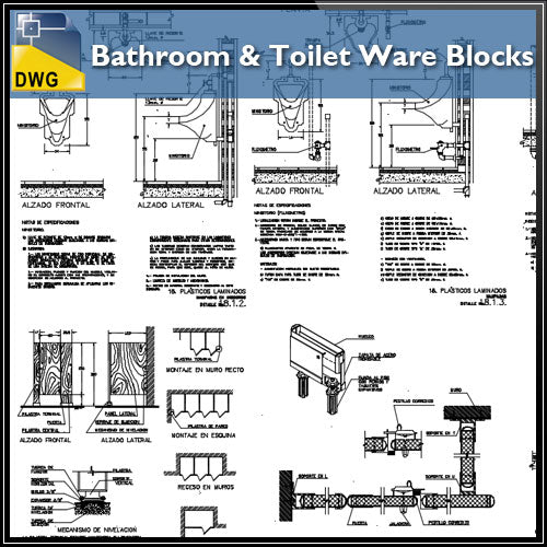 【CAD Details】Bathroom and Toilet Ware Block file(*.dwg) - Architecture Autocad Blocks,CAD Details,CAD Drawings,3D Models,PSD,Vector,Sketchup Download