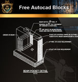 ★Free CAD Details-Beam Pocket Detail (Iso) - Architecture Autocad Blocks,CAD Details,CAD Drawings,3D Models,PSD,Vector,Sketchup Download